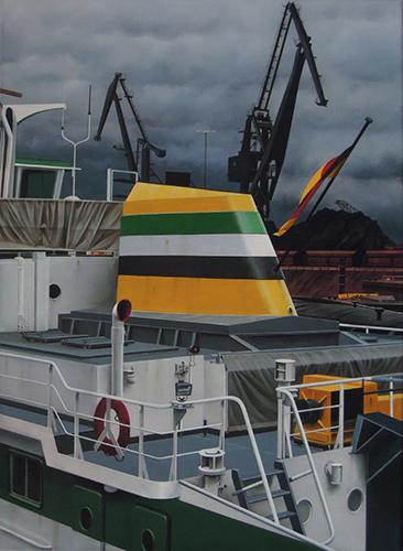 FRANZ HANIEL 14 im Duisburger Hafen; Acryl/LW; 59x43