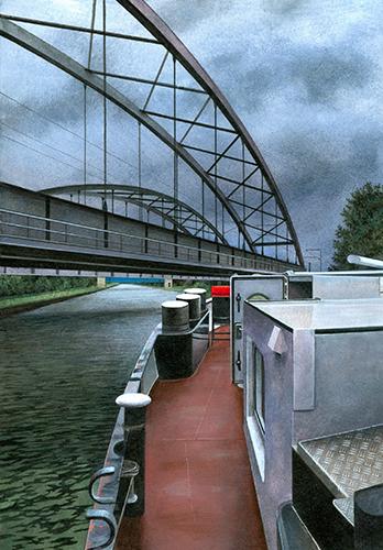 Auf dem Mittellandkanal (in Lohne); Acryl/Papier; 29,9 x 21